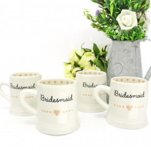 PACK of 4 Boxed Ceramic Heart Wedding Favour Gift Mug ~ Bridesmaid