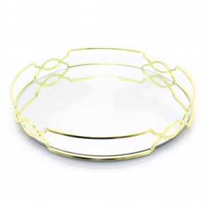 Gold Mirror Glass Metal Decorative Candle Plate Holder - Table Centrepiece Tealight Tray Perfume Display