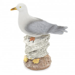 Resin Seagull on Stack of Rocks Nautical Decoration | 15cm Seagull Nautical Ornament | Seaside Seashore Sea Bird Decoration