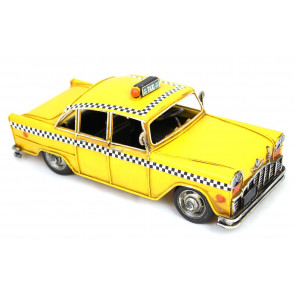 Vintage Retro New York City Taxi Yellow Cab Tin Model
