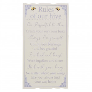 45cm Rules Of Our Hive Family Plaque | Wall Hanging Sign Family Rules Wall Art | Shabby Chic Home Accessories