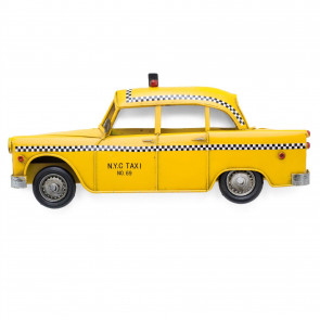 37cm Retro New York City Taxi Wall Mounted Tin Model | Vintage Metal American Yellow Cab Hanging Decoration | Home Office Wall Art