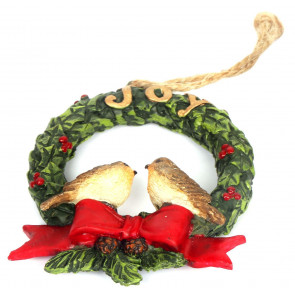 Hanging Robin Christmas Tree Decoration - Wreath