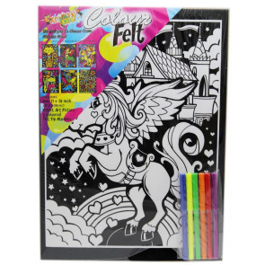 Kreative Kids Colourful Velvet Felt Art Picture Colouring Set For Children ~ Unicorn