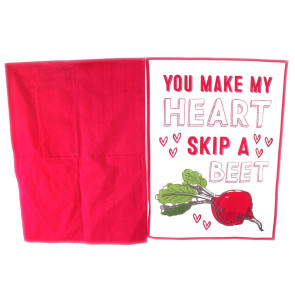 Heart Of The Home Set Of 2 Kitchen Tea Towels 100% Cotton ~ You Make My Heart Skip A Beet