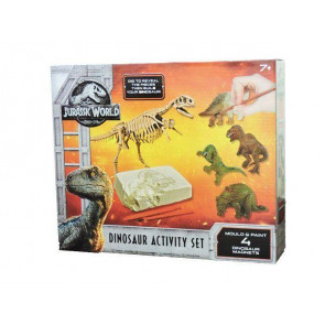 Jurassic World Dinosaur Activity Set - Dig A Dino T-Rex Model Skeleton Fossil and Mould & Paint Magnets
