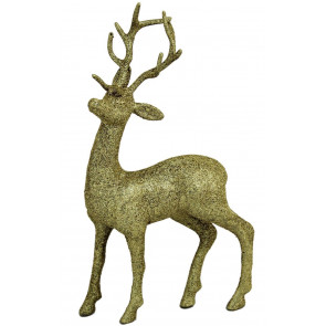 Standing Glitter Reindeer Gold Christmas Decoration
