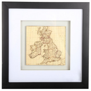 Black Wooden Box Frame ~ British Isles Uk Map Wall Art