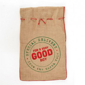 Jute Hessian Christmas Present Sack Gift Bag Large ~ Good Boy