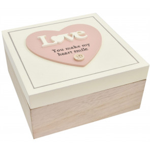 Beautiful Wooden Trinket Keepsake Storage Box with Hearts - Love You Make My Heart Smile