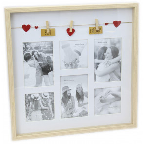 Clothes Line Wooden Box Style Display With Pegs Multi Collage Photo Frame ~ Best Friends