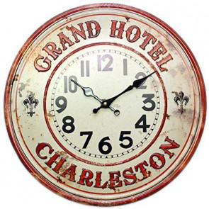 40Cm Metal Grand Hotel Charleston Kitchen Dining Wall Clock ~ Cream