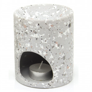 Terrazzo Ceramic Oil Burner With Tealight Candle Included - Tealight Candle Holder Essential Oil Fragrance Burner - Grey
