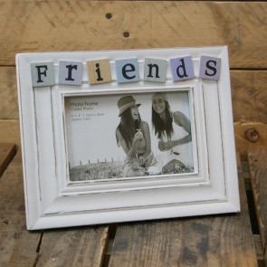 4 X 6 Shabby Chic White Washed Tiled Friends Photo Frame