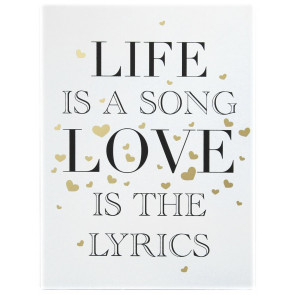 Gold Wooden Love Sign Wall Hanging Plaque 30cm x 40cm ~ Life Is a Song