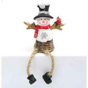 Festive Resin Snowman Shelf Sitter Christmas Decoration
