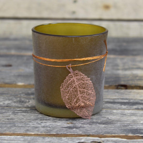 Frosted Glass Copper Falling Leaf Candle Tealight Holder ~ Gold Elm
