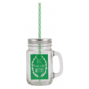 Retro Mason Style Tennessee Glass Handled Christmas Drinking Jar With Lid And Straw ~ Green