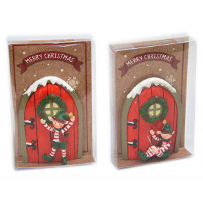 Resin Christmas Elf Workshop Door Skirting Board Tree Decoration Design Varies ~ Red