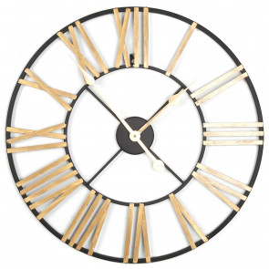 60Cm Black Gold Roman Numeral Skeleton Wall Clock