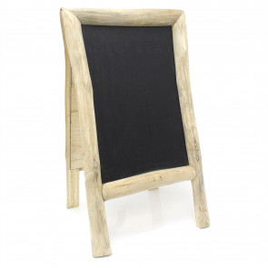 Teak Chalkboard Easel Sandwich Board - Free Standing Pavement Display Sign, Blackboard Menu Display Board For Bars Cafes Restaurant
