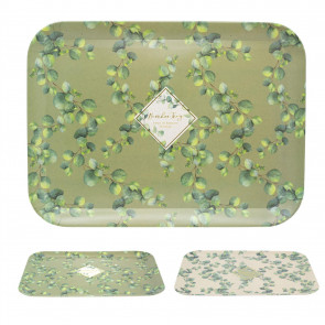 43cm Eucalyptus Rectangle Bamboo Fibre Serving Tray | Eco Friendly Lap Tray Dinner Tray | Large Food Drinks Tray - Colour Varies One Supplied