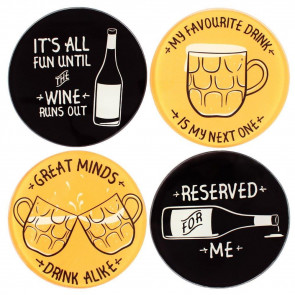 Classic Gent Drinks Coaster Set ~ Set Of Four Glass Drinking Themed Coasters