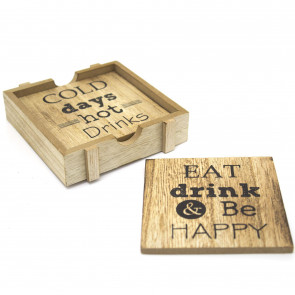 Set Of 4 Wooden Cosy Hygge Quotes Coasters With Holder - Square Quotation Drinks Coaster Set ~ Cup Mug Table Mats