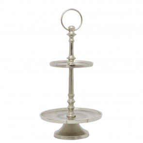 Elegant 2 Tier Silver Food Stand | Aluminium Dessert Cup Cake Tower Display Stand | 2 Layer Afternoon Tea Stand