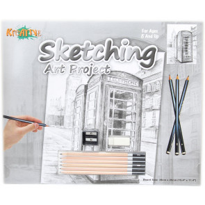 Kreative Sketching Pencil Art Project Drawing Set ~ Telephone Box