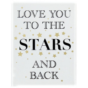 Gold Wooden Love Sign Wall Hanging Plaque 15cm x 20cm ~ Love You To The Stars