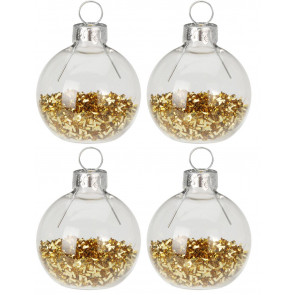 Set of 4 Glitter Bauble Christmas Wedding Dinner Table Name Place Card Holders - Gold