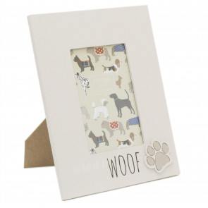 4 x 6 Photo Picture Frame For Dog Lovers | Pet Photo Frame With Quote | Paw Print Puppy Dog Frame - You Had Me At Woof
