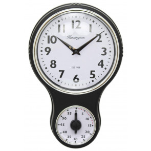 Kensington Traditional Retro Kitchen Hanging Wall Clock With Timer - Black