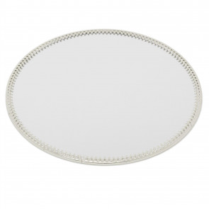 20cm Decorative Mirror Glass Display Plate | Silver Mirrored Candle Tray | Centerpiece Vanity Perfume Tray - Round