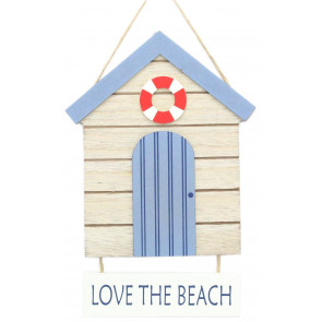 Nautical Wooden Hanging Sign - Coastal Beach Hut Plaque - Love the Beach