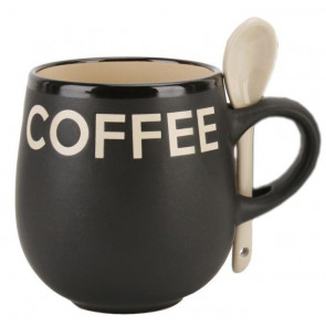 Contemporary Housewares Stoneware Coffee Mug With Stirring Spoon ~ Cream