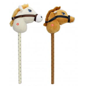 Childrens Plush Hobby Horse With Sound ~ Horse - Colours Vary