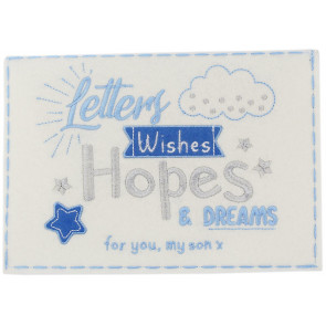 Beautiful Embroidered Felt New Baby Letters, Wishes Hopes And Dream Keepsake Envelope ~ Boy