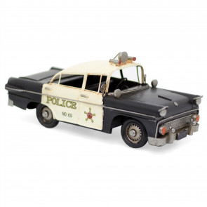 28cm Retro New York City Police Car Tin Model | Vintage Metal NYPD American Classic Cop Car Decoration | Home Office Car Ornament