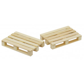 Set Of 2 Euro Pallet Style Wooden Drink Mat Coasters