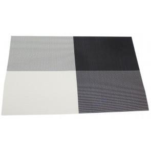 Wipe Clean PVC Woven Dining Table Place Mat Single - Black Placemat