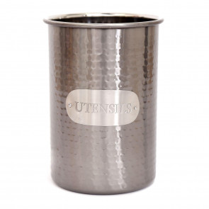 Hammered Silver Metal Kitchen Utensil Storage Holder ~ Stunning Utensil Organiser Pot