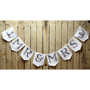 Fabric Marriage Mr And Mrs Bride And Groom Wedding Party Decor Bunting Decorative Garland