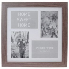 4 Aperture Home Sweet Home Wooden Multi Photo Picture Frame - Dark Wood