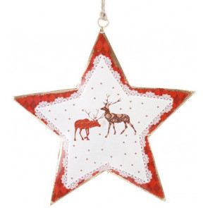 Reindeer Metal Star With Twine Hanger ~ Hanging Christmas Tree Decoration