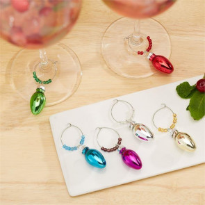Drink And Be Merry Set Of 6 Christmas Light Bulb Wine Glass Identifier Charms