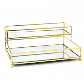Gold Effect 2 Tier Mirrored Display Tray | Perfume Jewellery Cosmetic Organiser | Decorative Metal Double Layer Vanity Dish