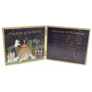Freestanding Double Plaque Nativity Christmas Story Decoration Sign