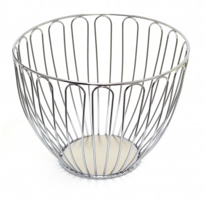 Elegant Round Silver Display Basket | Modern Home Storage Basket | Wire Vegetable Rack Fruit Basket